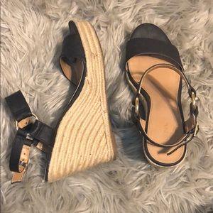Black & Rope Wedge Sandal